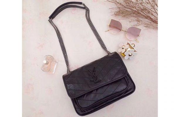 Replica YSL Saint Laurent Niki Baby In Crinkled Vintage Leather 533037 Black