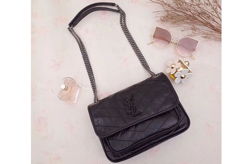 2d8671f1998 Replica YSL Saint Laurent Niki Baby In Crinkled Vintage Leather 533037 Black