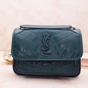 Replica YSL Saint Laurent Niki Baby In Crinkled Vintage Leather 533037 Green