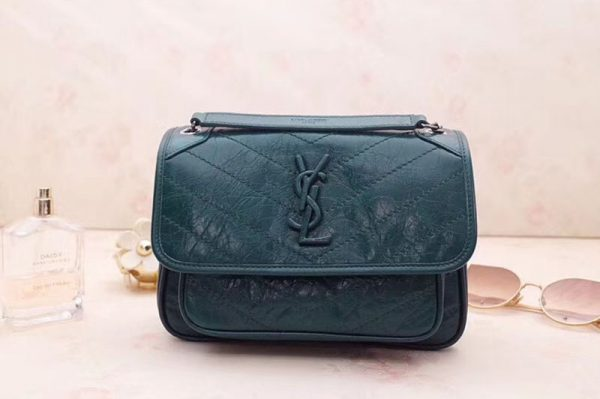 Replica YSL Saint Laurent Niki Baby In Crinkled Vintage Leather 533037 Green