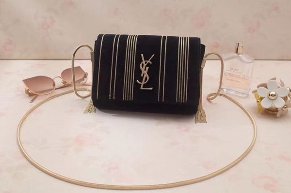 Replica YSL Saint Laurent Kate Small in Suede Decorated With Studs 539213 Black