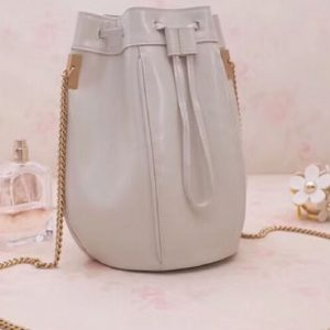 Replica YSL Saint Laurent Talitha Small Bucket Bag in Smooth Leather 554250 White