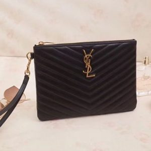 Replica YSL Saint Laurent Monogram A5 Pouch In Matelasse Leather Black