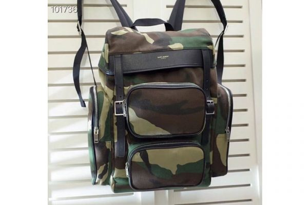 Replica YSL Saint Laurent Cotton Hunting Multi-Pocket Rucksack Backpack 414739 Camouflage