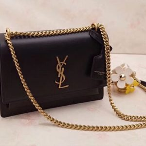 Replica YSL Saint Laurent Medium Sunset Monogram Bag 442906 Black Gold Hardware