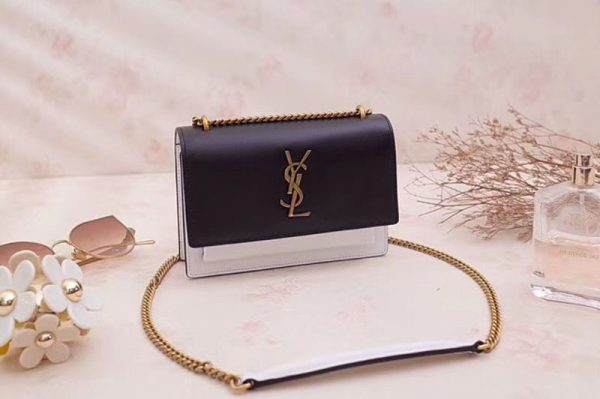 Replica YSL Saint Laurent Sunset Chain Wallets Smooth Leather 452157 Black&White