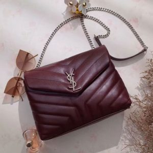 Replica YSL Saint Laurent Small Loulou Chain Bags 464676 Original Calfskin Leather Bordeaux