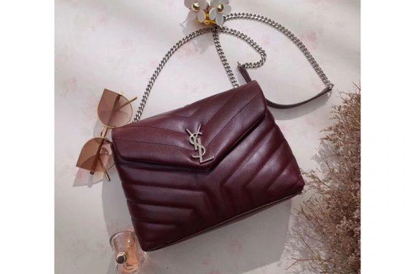 Replica YSL Saint Laurent Small Loulou Chain Bags 464676 Original Calfskin Leather Bordeaux
