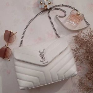 Replica YSL Saint Laurent Small Loulou Chain Bags 464676 Original Calfskin Leather White