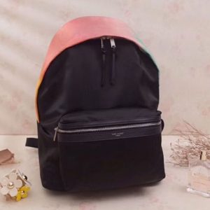 Replica YSL Saint Laurent City Backpack In Nylon Canvas and Leather 465448 Black and Pink