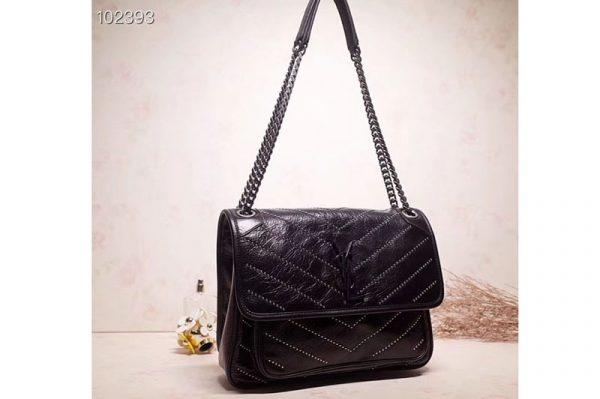 Replica YSL Saint Laurent Niki Medium Bag Black Vintage Leather 498894 Black Hardware