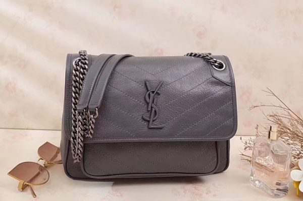 Replica YSL Saint Laurent Niki Medium Bag Vintage Leather 498894 Gray
