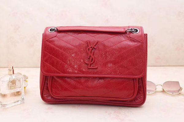 Replica YSL Saint Laurent Niki Medium Bag Vintage Leather 498894 Red