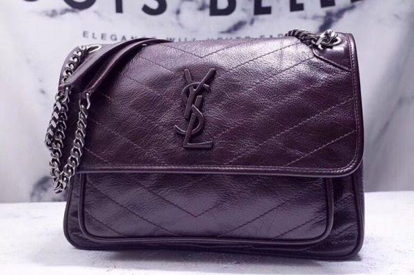 Replica YSL Saint Laurent Niki Medium Bag Vintage Leather 498894 Dark Coffee