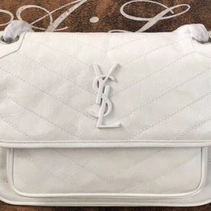 Replica YSL Saint Laurent Niki Medium Bag Vintage Leather 498894 White