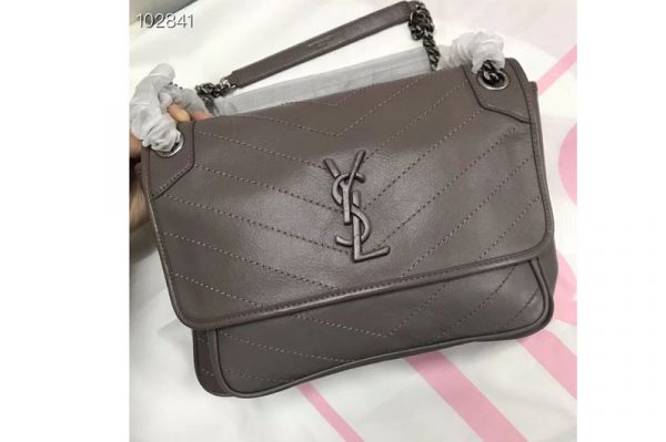 Replica YSL Saint Laurent Niki Medium Bag Vintage Leather 498894 Khaki