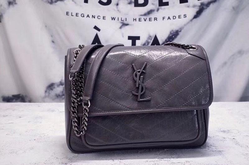 Ysl Saint Laurent Niki Medium Bag Grey Vintage Leather