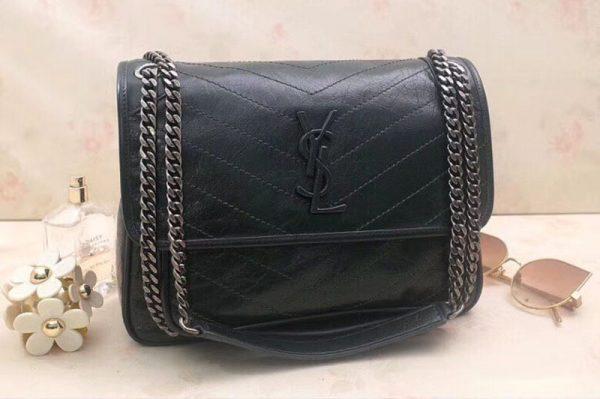 Replica YSL Saint Laurent Niki Medium Bag Vintage Leather 498894 Dark Green
