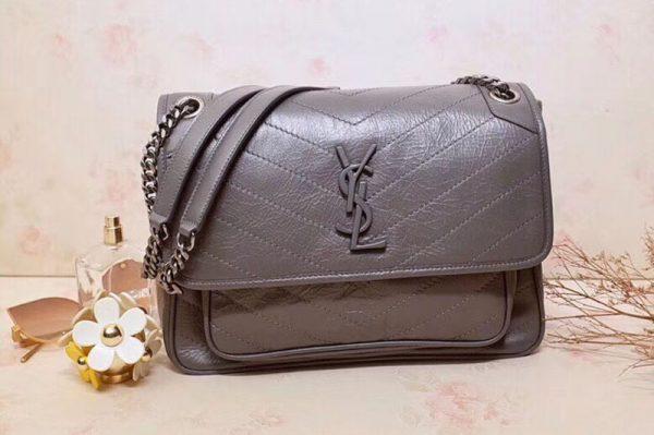 Replica YSL Saint Laurent Niki Medium Bag Vintage Leather 498894 Light Gray