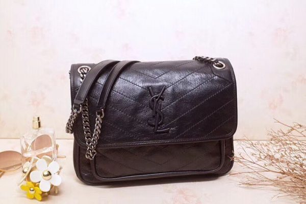 Replica YSL Saint Laurent Niki Medium Bag Vintage Leather 498894 Black