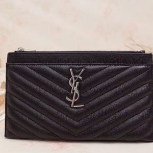 Replica YSL Saint Laurent Monogram Bill Pouch in Grain De Poudre Embossed Leather Black Silver Hardware