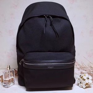Replica YSL Saint Laurent City Backpack In Nylon Canvas 527137 Black