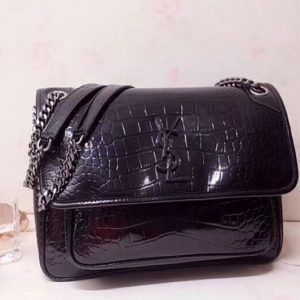 Replica YSL Saint Laurent Niki Small Bag in Black Embossed Crocodile 548943