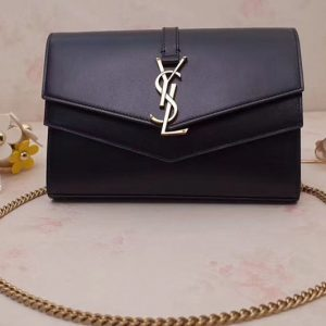 Replica YSL Saint Laurent Monogramme Sulpice Chain Wallet in Smooth Leather 554763 Black