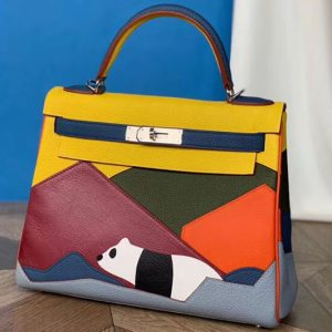 Replica Hermes Kelly 28cm Panda Limited Edtion Bags Original Togo Leather Full Handstitch