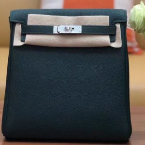 Replica Hermes kelly ado 22cm backpack Original Togo Leather Full Handstitch Green Silver Hardware