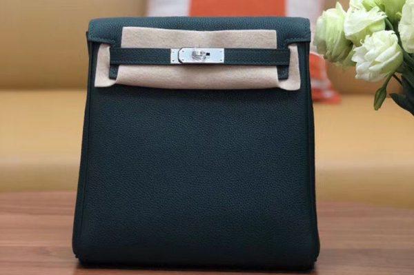 Replica Hermes kelly ado 22cm backpack Original Togo Leather Full Handstitch Green Silver Hardware