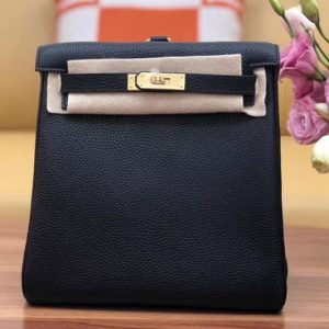 Replica Hermes kelly ado 22cm backpack Original Togo Leather Full Handstitch Black Gold Hardware