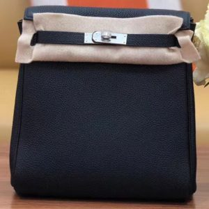 Replica Hermes kelly ado 22cm backpack Original Togo Leather Full Handstitch Black Silver Hardware
