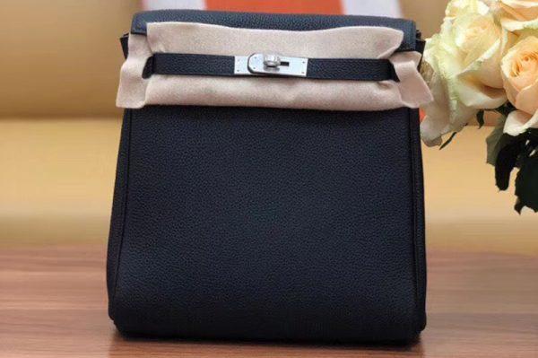 Replica Hermes kelly ado 22cm backpack Original Togo Leather Full Handstitch Black Silver Hardware