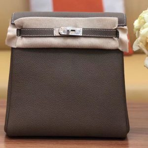 Replica Hermes kelly ado 22cm backpack Original Togo Leather Full Handstitch Grey Leather Silver Hardware