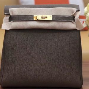 Replica Hermes kelly ado 22cm backpack Original Togo Leather Full Handstitch Grey Leather Gold Hardware