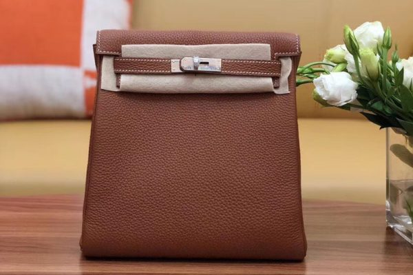 Replica Hermes kelly ado 22cm backpack Original Togo Leather Full Handstitch Tan Leather Silver Hardware