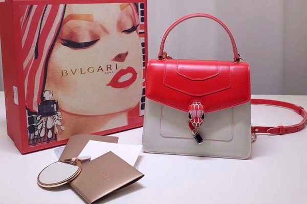 Replica Bvlgari 28331 Serpenti Forever Flap Cover Bags Red/White Calf Leather