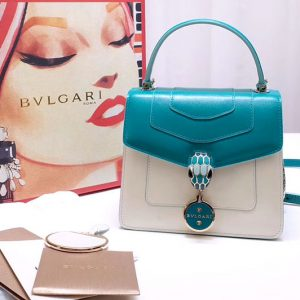 Replica Bvlgari 28331 Serpenti Forever Flap Cover Bags Blue/White Calf Leather