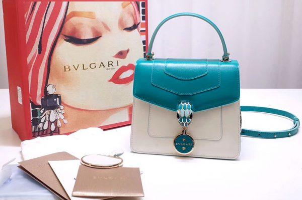 Replica Bvlgari 28331 Serpenti Forever Flap Cover Bags Blue/White Calf Leather