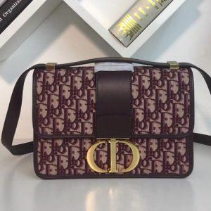 Replica Dior 30 Montaigne Flap bag in Burgundy Dior Oblique jacquard canvas