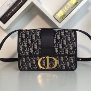 Replica Dior 30 Montaigne Flap bag in Blue Dior Oblique jacquard canvas