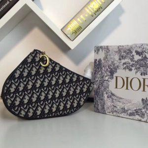 Replica Dior Saddle zipped clutch in blue Dior Oblique jacquard canvas