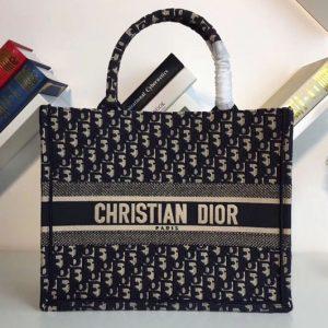 Replica Dior Book Tote 37mm bag in blue Dior Oblique embroidered canvas