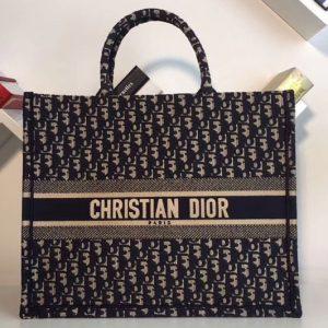 Replica Dior Book Tote 42mm bag in blue Dior Oblique embroidered canvas