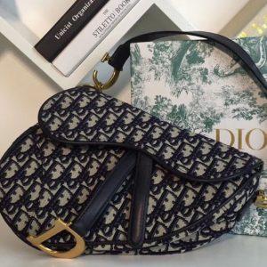 Replica Dior M0446 Oblique Saddle bags in blue Dior Oblique jacquard canvas