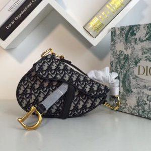Replica Dior M0168 Mini Oblique Saddle bags in blue Dior Oblique jacquard canvas