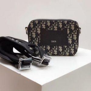 Replica Dior Oblique Camera Bag in blue Dior Oblique jacquard canvas