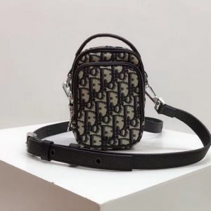 Replica Dior Oblique Phone Bag in blue Dior Oblique jacquard canvas