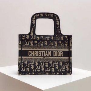 Replica Dior Oblique Book Tote Bag in blue Dior Oblique jacquard canvas